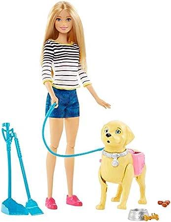 Barbie-A Spasso coi Cuccioli con Cagnolino Che Fa i Bisogni e