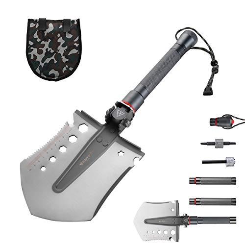 Cysikop Extended Military Folding Snow Shovel, Survival Entrenching Tool with Carrying Pouch Metal Handle for Hiking, Backpacking,Fishing,Car Emergency,Gardening etc. by Cysikop (Image #7)