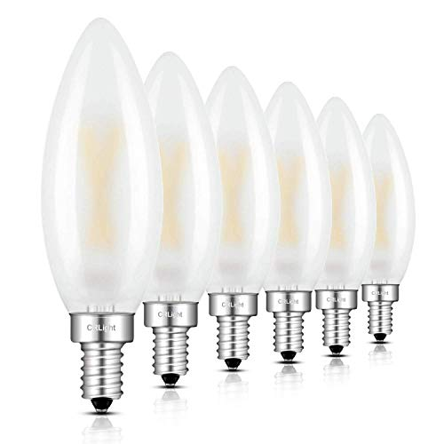 (CRLight LED Candelabra Bulb 2W 3000K Soft White, 25W Equivalent 250LM E12 Base Dimmable LED Candle Bulbs, B10 Frosted Glass Torpedo Shape Bullet Top, 360 Degrees Beam Angle, 6 Pack)