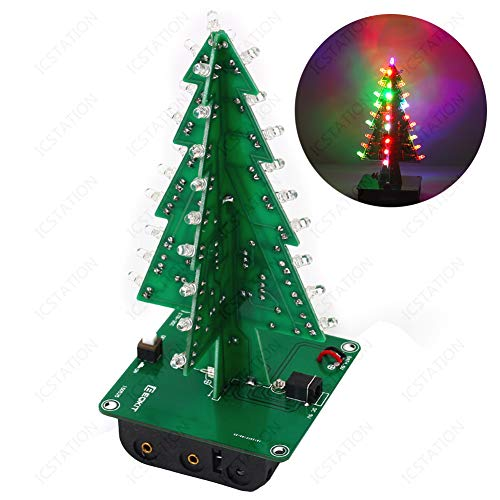 IS Icstation DIY 3D Xmas Tree Electronic Soldering Assemble Kit 7 Color Flashing LED Science School Project Creative Season Gift