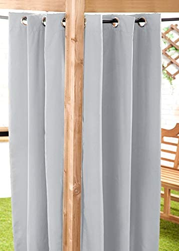 """Gardenista Water Resistant Outdoor Eyelet Curtain   Private Areas for Patio, Gazebo or Balcony   Windproof and Sun Protection   Durable and Easy Clean   55"""" x 72"""" (Grey) 55""""x72"""" Grey"""