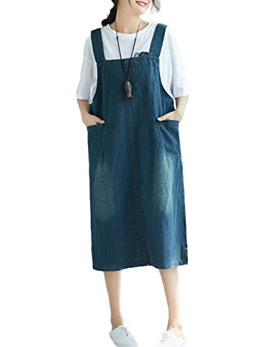 Innifer Overall Pinafore Dress Skirt/Women's Plus Size Loose Casual Strap Jeans Denim Overall Dress ()