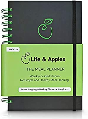 Weekly Meal Planner with Grocery List, Recipe Cards and Trackers - 52 Weeks, Premium Hardcover Spiral Bound Notebook