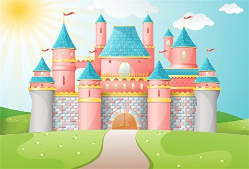 (AOFOTO 7x5ft Cartoon Fairy Tale Castle Photography Background Magic Princess Castle Backdrop Kid Baby Toddler Child Little Girl Artistic Portrait Photoshoot Studio Props Video Drape Wallpaper)