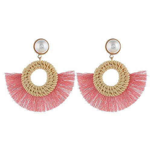 - Temperament Personality Ethnic Earrings Bohemian Trend Handmade Wicker Hole Wood Triangle Circle Tassel Fringe Earrings Dangle Drop Women Jewelry Pink A