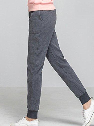 Pantaloni Tasche Sportiva Con scuro Casuali Denso Pantaloncini Pants Grigio Elastico Donna Jogging Lungo qE8tPzx8