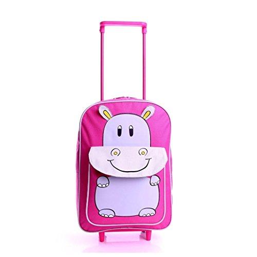 Karabar Tierwelt Freunde Kinder Trolley-Tasche (Rosa Hippo)