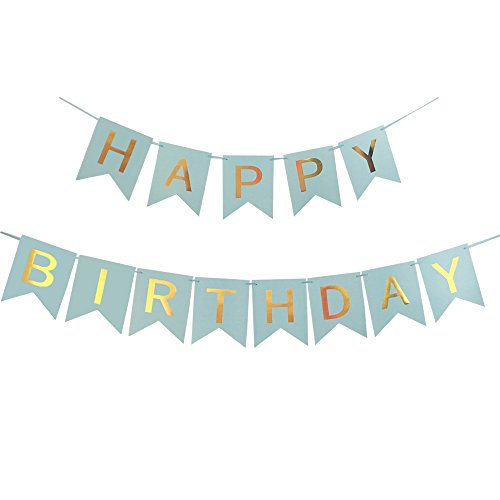 Happy Birthday Banner - Decoration Banners Paper Flags 10 Feet (Blue)