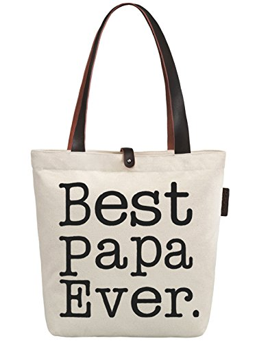 So'each Women's Best Papa Letters Graphic Top Handle Canvas Tote Shoulder Bag