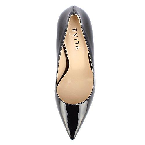 Evita Shoes JESSICA Damen Pumps Lack Dunkelgrau