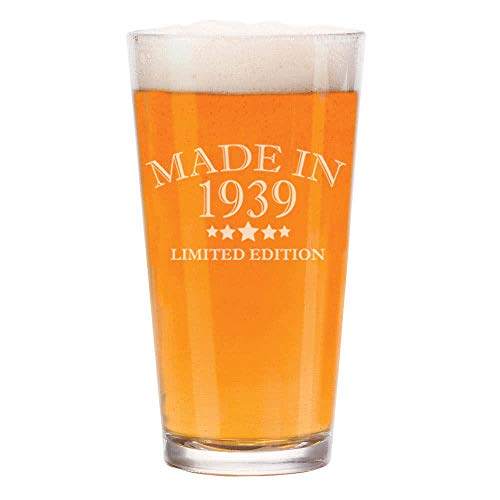 16 oz Beer Pint Glass Made In 1939 80th Birthday Gift