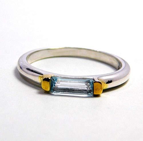 topaz silver ring, unisex topaz ring, engagement blue topaz ring, two tone silver ring, baguette topaz ring, blue topaz ring
