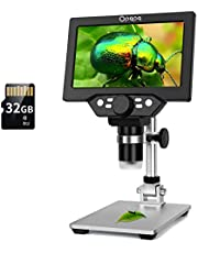 """7"""" LCD Digital Microscope with 32GB TF Card, 1-1200X Magnification 1080P Video Microscope for Kids,12MP Electron Microscope Camera with Metal Stand, PC View, Windows/Mac OS Compatible"""