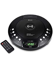 HANNLOMAX HX-329CD CD Player with Qi Wireless Charger, FM Radio, Bluetooth, Digital Clock with Dual Alarm, Green LED Display, USB Port for Charging/MP3 Playback, Aux-in, Remote Control.