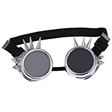 SODIAL(R)Vintage Steampunk Goggles Safety Glasses Rivet Steampunk Design Gothic Cosplay Lenses Glasses Silver