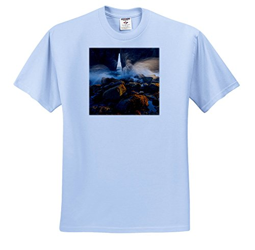 Price comparison product image 3dRose Danita Delimont - Beaches - Oregon, Harris Beach State Park. Ocean Spray Over Lichen Covered Rocks - T-Shirts - Youth Light-Blue-T-Shirt XS(2-4) (TS_259907_59)