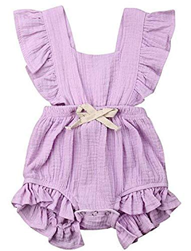 Adorable Romper - LeCessoriz Romper for Baby Girl, One Piece Cotton Flutter Sleeve Bodysuit for Newborn, Baby, Toddler (12-18 Months, Light Purple)