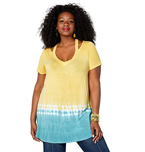 Avenue Women's V-Neck Tie Dye Tunic with Cutout Detail, 30/32 Yellow
