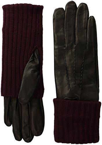 SOIA & KYO Women's Carmel-F6 Leather Glove with Fold-Over Rib Knit Sleeve, Black/Grape, Medium