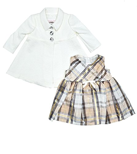 Bonnie Baby Baby Girls Gold Plaid Dress and Ivory Brocade Coat Set (18 Months)