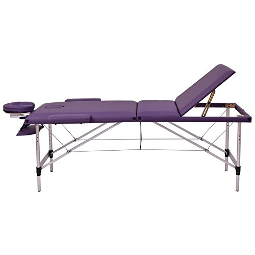 Purple 72''L Portable Massage Table Heavy Duty Aluminum Frame Salon SPA Chair Beauty Height Adjustable Table Tattoo Parlor Facial Bed Multi Purpose Professional Therapists Chiropractors Home Therapy