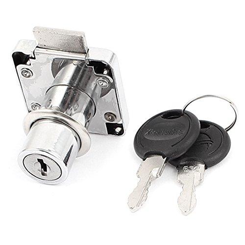 Uxcell a15110500ux0379 Drawer Lock Cabinet Cupboard Desk Drawer Cylinder Metal Lock Silver Tone W Keys