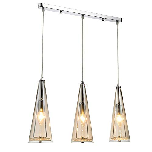 JYXZ 3 Light Modern Amber Crystal Pendant Lights Lamp Round Glass Chandeliers Ceiling Lights Lamp for Kitchens Island Dining Room Dining Table, -