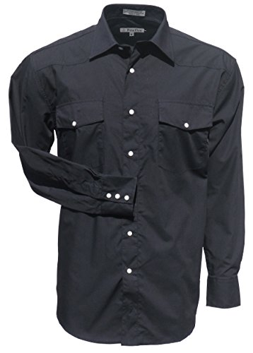 Foxfire Black Long Sleeve Solid Men's Western Shirt 4XB
