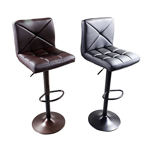 Z ZTDM Set of 2 Swivel Leather Bar Stools with Back ,Modern Square Adjustable Upholstered Counter Stool Padded Chairs