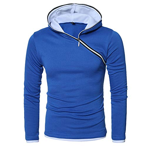 Wobuoke Men's Winter Casual Tops Slim Long-Sleeved Paneled Zipper T-Shirt Solid Hooded Blouse -