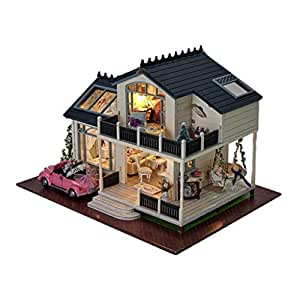 Baosity 1/24 DIY Wooden 3D Miniature Dollhouse Model Kit French Style Provence Villa