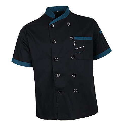 Fityle Chef Jacket Uniform Short Sleeve Hotel Kitchen Apparel Cook Coat 5 Colors - Black, XL by Fityle