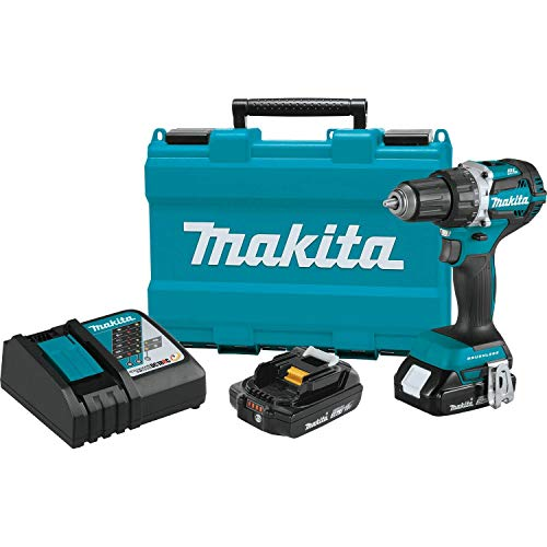 Makita XFD12R 18V LXT Lithium-Ion Compact Brushless Cordless 1/2″ Driver-Drill Kit (2.0Ah),