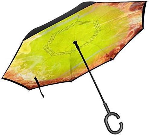 火災でクールなスポーツテニスボール ユニセックス二重層防水ストレート傘車逆折りたたみ傘C形ハンドル付き