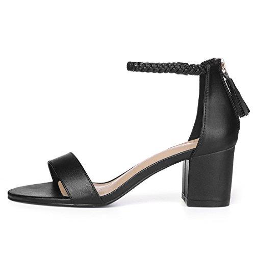 Donne 5 Caviglia Fiocco Nero US Allegra Cinturino Tacco Intrecciata K Sandali Blocco qBBS5P