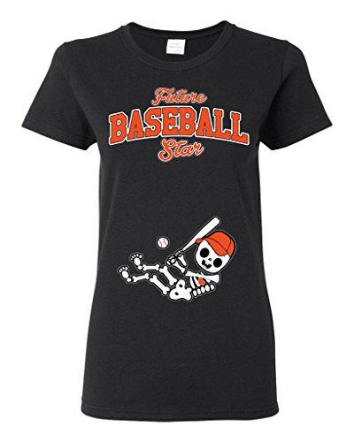(Future Baseball Star Houston Baby Fan Sports Ball Ladies DT T-Shirt Tee (XXX-Large, Black))