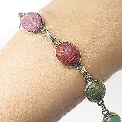 - Signed 925 Silver Gold Plated Scarab Carved Multicolor Gemstone Link Bracelet 7