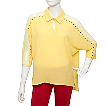 Parkhande Yellow Polyester V Neck Blouse For Women