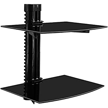 mountit mi892 floating wall mounted shelf bracket stand for av receiver component cable box xbox1 dvd player projector