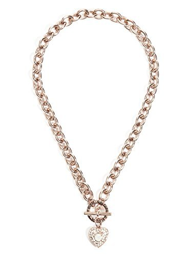 G by GUESS Women's Rose Gold-Tone Rhinestone Heart Toggle Necklace by G by GUESS
