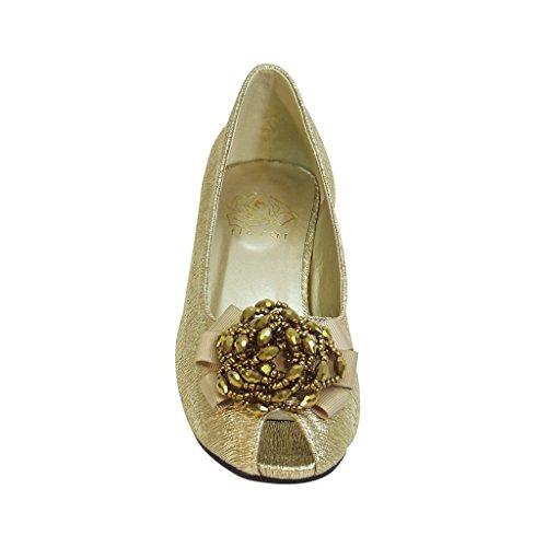 Blomstermotiver Fic Allie Kvinder Bred Bredde Peep Toe Kjole Pump Til Bryllup, Prom, Middag (størrelse / Måling Guider) Guld