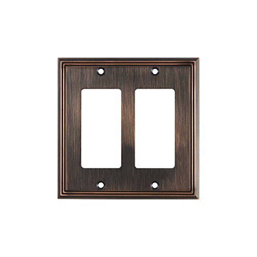 Rok Hardware Wall Plate Contemporary Decorative Rocker/GFCI Switch Plate (Brushed Oil-Rubbed Bronze, 2 Gang)