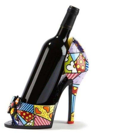 Romero Britto High Heel Multi-pattern Wine Bottle Holder by Gift Craft