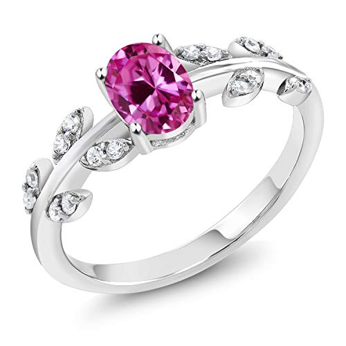 Gem Stone King 925 Sterling Silver Pink Created Sapphire Olive Vine Ring 1.11 Ct Oval (Size 9)