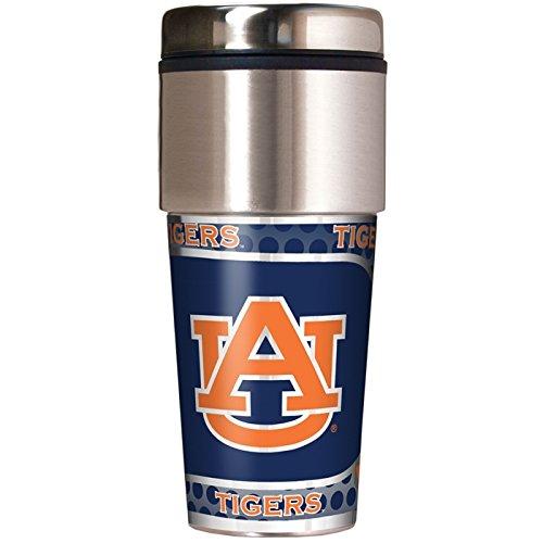(NCAA Auburn Tigers 16 oz Travel Tumbler with Metallic Wrap)
