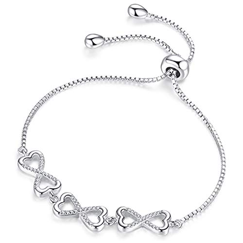 EURYNOME S925 Sterling Silver Butterfly Infinity Endless Love Heart Bracelet Adjustable Chain Women Girls Jewelry