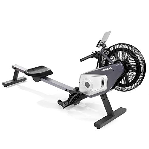 MaxKare Air Rower Dynamic Air Resistance Rowing Machine with LCD Monitor for Home Use