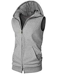 Men's Sleeveless Thin Hoodie Athletic Zip-up Vest Tank-Top with Pocket