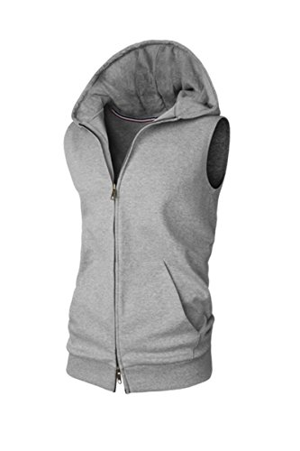 V-rules Men's Sleeveless Hoodie Jersey Casual Basic Zip-Up Vest With Pocket (US-XL, gray)