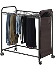 BTY Pants Hangers Rolling Trolley Trousers Rack with 20 Storage Hangers, Movable Rolling Pants Closet Organizer Shelf for Jeans, Scarf, Trouser, Black
